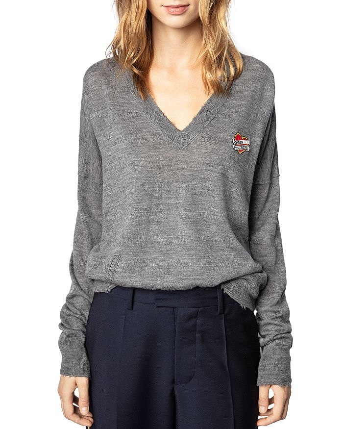 Zadig & Voltaire V NECK PATCH LOGO SWEATER