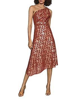REISS - Delilah Metallic One Shoulder Dress