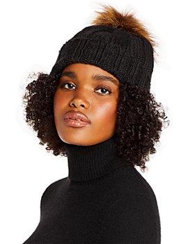 AQUA - Faux Fur Pom Pom Knit Hat