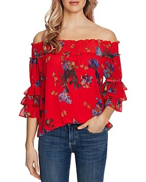CeCe Floral Print Off-the-Shoulder Blouse-Women