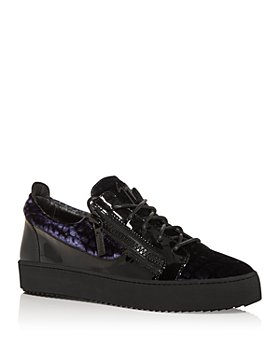 Giuseppe Zanotti - Men's Meredith Velvet Zip Low Top Sneakers