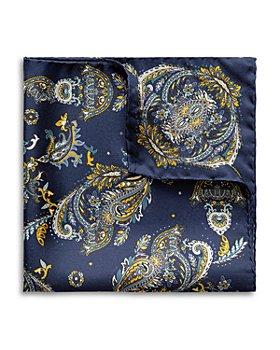 Eton - Silk Blue Detailed Paisley Pocket Square