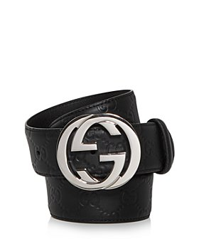 Gucci - Men's Double G Buckle Embossed Leather Belt