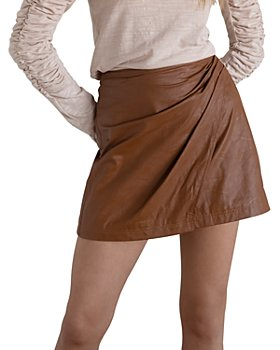 Free People - Fake Out Faux Leather Wrap Skirt