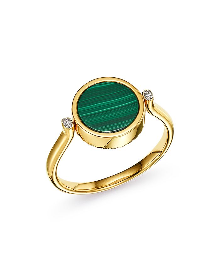 Bloomingdale's - Diamond and Malachite Reversible Ring in 14K Yellow Gold - 100% Exclusive