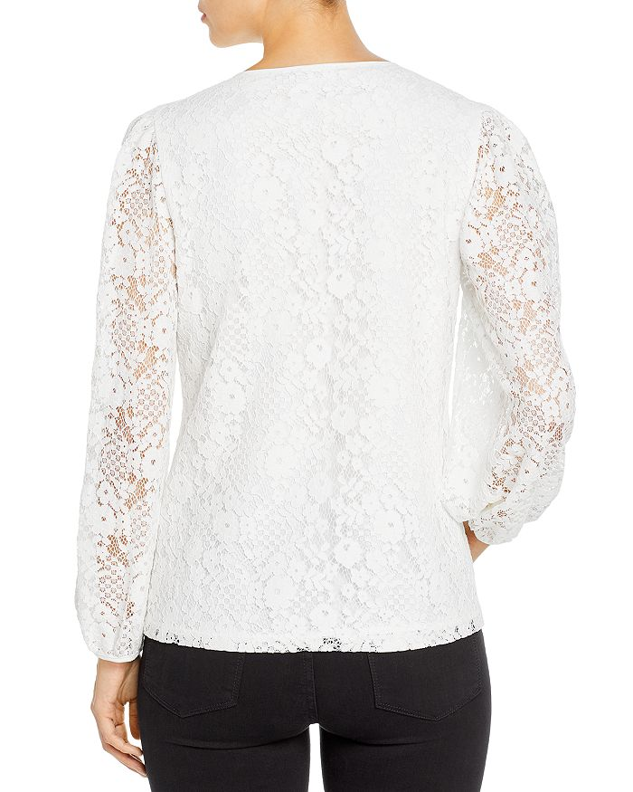 KARL LAGERFELD Cottons LACE BALLOON SLEEVE BLOUSE