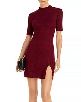AQUA - Ribbed Mini Bodycon Dress - 100% Exclusive