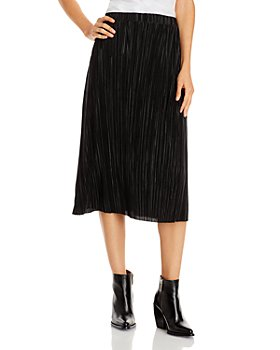 AQUA - Plissé Midi Skirt - 100% Exclusive