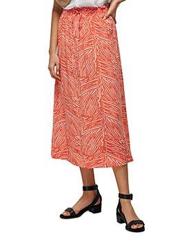 Whistles - Tiger Palm Print Smocked Waist Skirt