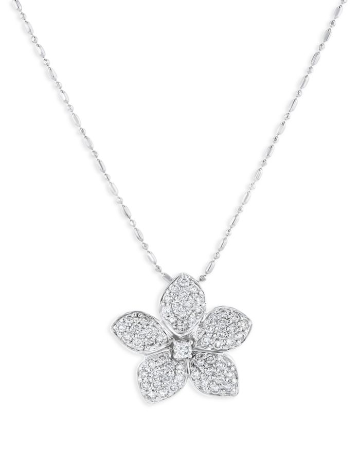 Bloomingdale's Pave Diamond Flower Pendant Necklace in 14K White Gold, 0.75 ct. t.w. - 100% Exclusive  | Bloomingdale's
