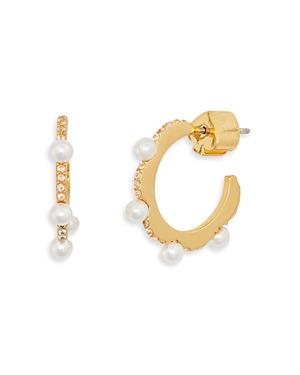 kate spade new york Pave & Imitation Pearl Huggie Hoop Earrings