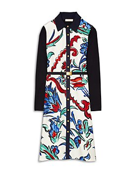 Tory Burch - Silk Front Belted Shirt Dress