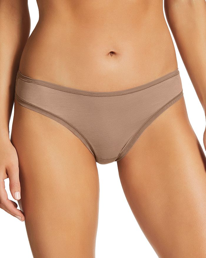 Fine Lines Pure Cotton Thong In Mocha