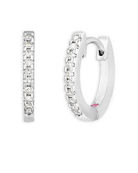 Roberto Coin - 18K White Gold Perfect Diamond Extra Small Hoop Earrings