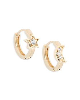 AQUA - Cubic Zirconia Moon & Star Hoop Earrings in 18K Gold Plated Sterling Silver - 100% Exclusive