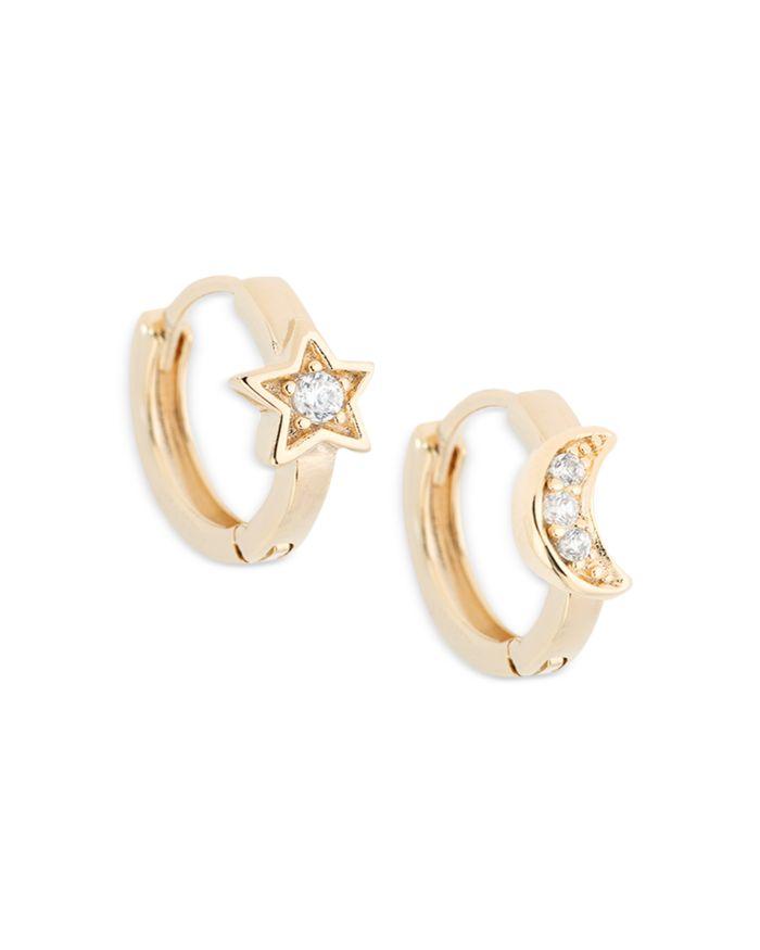 AQUA Cubic Zirconia Moon & Star Hoop Earrings in 18K Gold Plated Sterling Silver - 100% Exclusive     Bloomingdale's