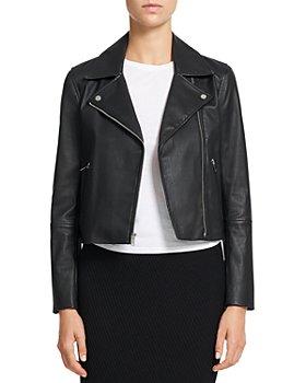 Theory - Cropped Leather Moto Jacket