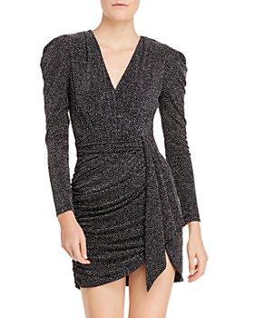 AQUA - Metallic Faux Wrap Dress - 100% Exclusive