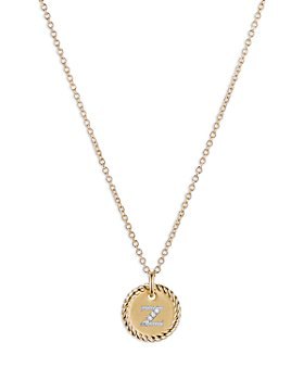 David Yurman - Z Initial Charm Necklace with Diamonds in 18K Gold, 16-18""