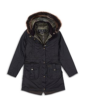 Barbour - Girls' Homeswood Waxed Faux Fur Trim Parka - Big Kid