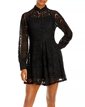 AQUA - Short Lace Long Sleeve Dress - 100% Exclusive