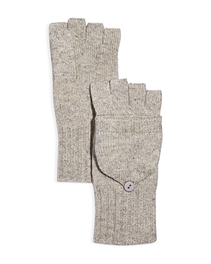 Ribbed Pop-Top Cashmere Gloves