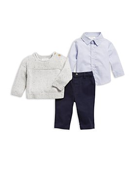 Miniclasix - Boys' Sweater, Button Up Shirt & Pants Set - Baby