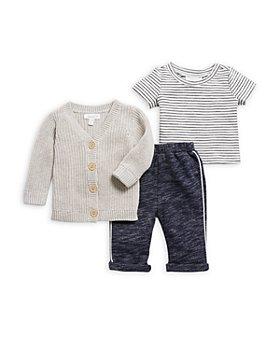 Miniclasix - Boys' Cardigan, Stripe Tee & Knit Pants Set - Baby