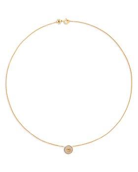 """Tory Burch - Kira Semi Precious Logo Pendant Necklace, 17.5"""""""