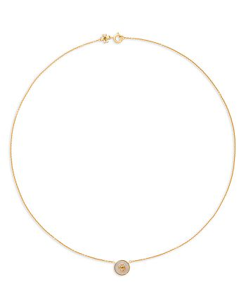Tory Burch - Kira Semi Precious Logo Pendant Necklace, 17.5""