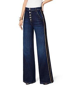 Ramy Brook - Heidi Striped Wide Leg Jeans in Dark Rinse