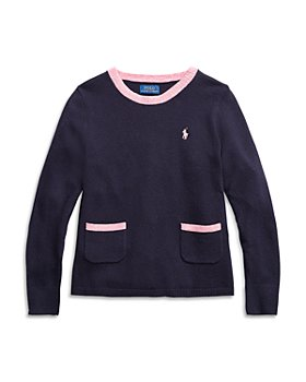 Ralph Lauren - Girls' Contrast Trim Sweater - Little Kid, Big Kid