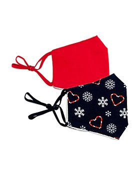 Capelli - Girls' Cotton Snowflake Print & Solid Face Masks, Set of 2