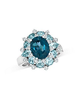 Bloomingdale's - Blue Topaz, Aquamarine and Diamond Statement Ring in 14K White Gold - 100% Exclusive