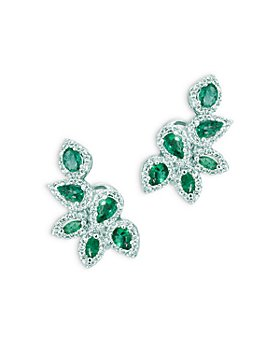Bloomingdale's - Emerald and Diamond Leaf Earrings in 14K White Gold - 100% Exclusive