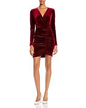 Black Halo - Como Ruched Velvet Mini Dress