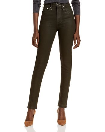 rag & bone - Nina High Rise Pull On Jeans in Coated Olive Night - 100% Exclusive