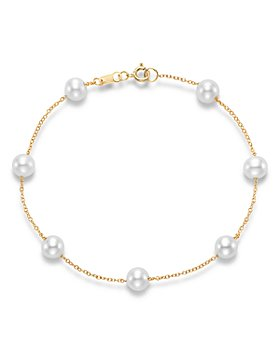 Bloomingdale's - Cultured Freshwater Pearl Station Bracelet in 14K Yellow Gold - 100% Exclusive