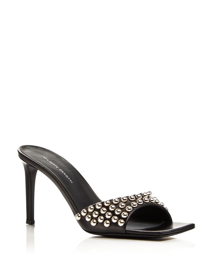 Giuseppe Zanotti Women's 85 Square Toe Studded High Heel Sandals    Bloomingdale's