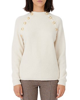 Maje - Marnet Gold Tone Button Sweater