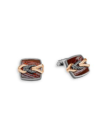 JOHN HARDY - Men's Silver & Bronze Classic Chain Square Cufflinks