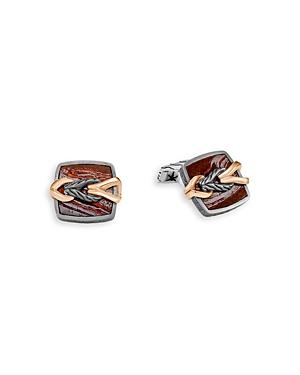John Hardy Men\\\'s Silver & Bronze Classic Chain Square Cufflinks-Jewelry & Accessories