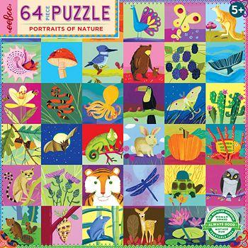 eeBoo - Portraits of Nature 64 Piece Puzzle - 5+