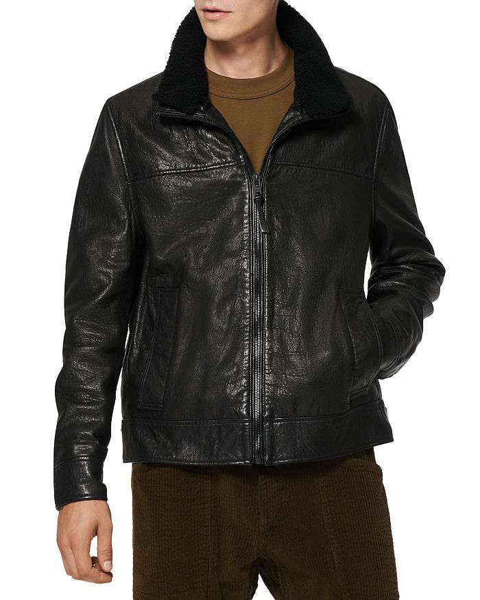Andrew Marc - Augustine Shearling Collar Leather Jacket