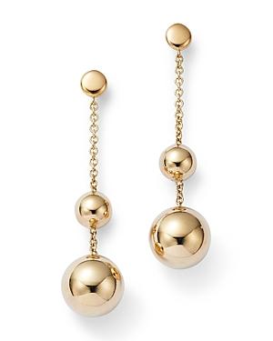 14K Yellow Gold Bead Drop Earrings
