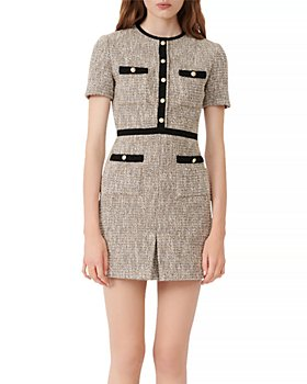 Maje - Rinie Contrast Trimmed Tweed Mini Dress