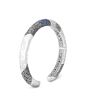 John Hardy Sterling Silver Classic Blue Sapphire Hammered Look Kick Cuff Bracelet-Jewelry & Accessories
