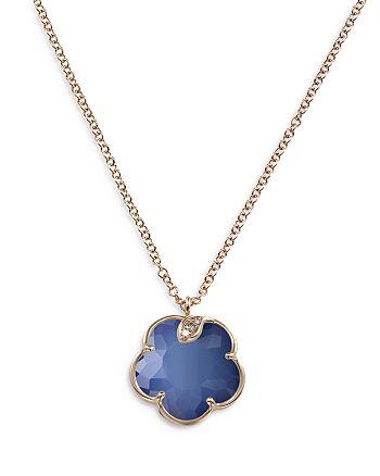 "Pasquale Bruni - 18K Rose Gold Petit Joli Lapis White Agate Doublet & Diamond Flower Pendant Necklace, 16.75"""