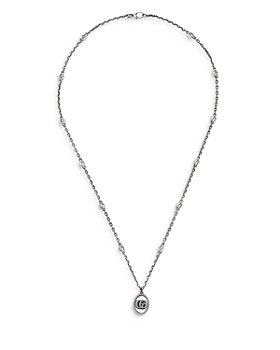 Gucci - Men's Sterling Silver Marmont Interlocking G Medallion Pendant Necklace, 31""