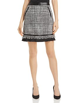 KARL LAGERFELD PARIS - Faux Leather Trim Tweed Mini Skirt